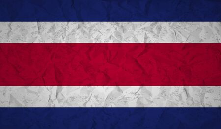 costa rican flag: Costa  Rican flag with the effect of crumpled paper and grunge Illustration