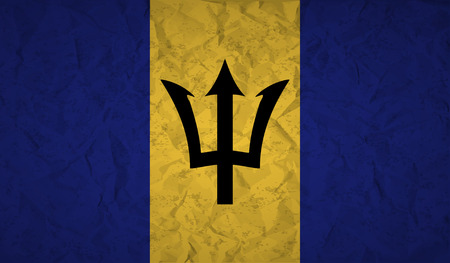 Barbados  flag with the effect of crumpled paper and grunge