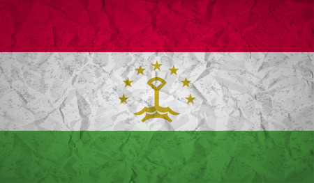 crumpled: Tajikistan  Flag with the effect of crumpled paper and grunge Illustration