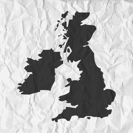 outline map: UK  map in black on a background crumpled paper