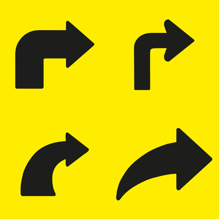 turn yellow: Set  of black arrows right turn on a yellow background