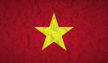 viet nam: Flag  of Vietnam with the effect of crumpled paper and grunge