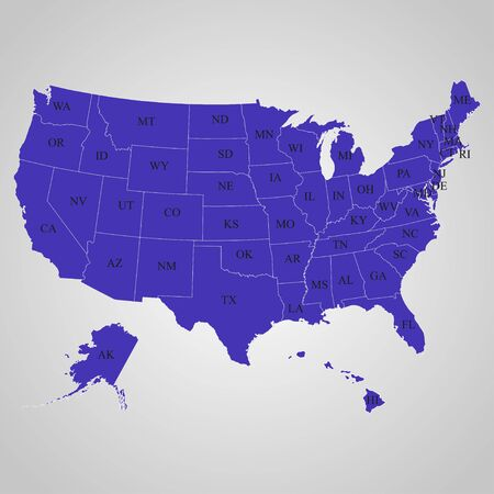separable: Map  of the USA on the individual states with names