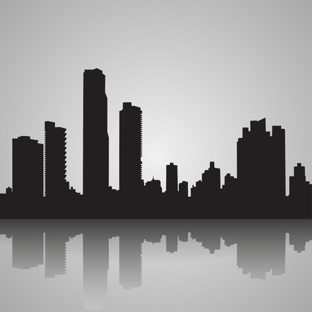 Black silhouette of Panama with reflection. Vector illustration