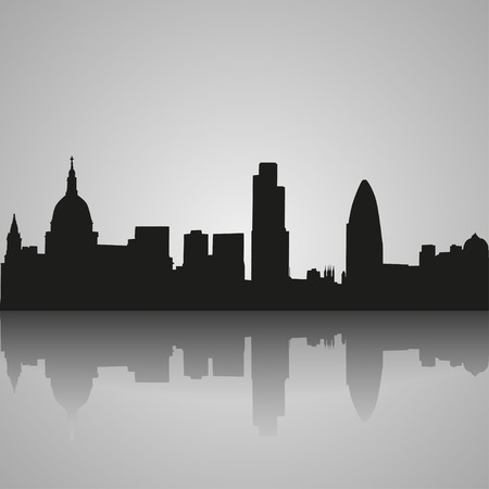 london to brighton: Black  silhouette of London with reflection. Vector illustration Illustration