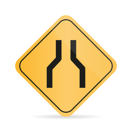 narrowing: Orange  road sign of narrowing of the road on a white background with shadow
