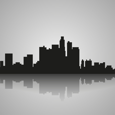Black  silhouette of Los Angeles with reflection. Vector illustration Banco de Imagens - 59463526