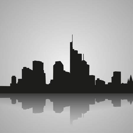 frankfurt: Black  silhouette of Frankfurt with reflection. Vector illustration Illustration