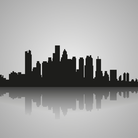 horizon over land: Black  silhouette of Boston with reflection. Vector illustration
