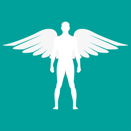 icarus: Silhouette  of a man with wings in white color. Vector illustration Illustration