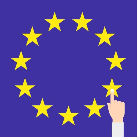 strasbourg: EU   flag vector isolated with hand Illustration