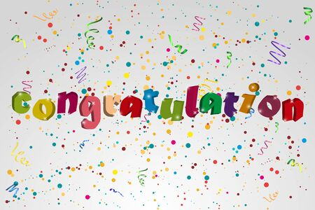 orange sign: Congratulation  banner with confetti an ribbons. Vector illustration