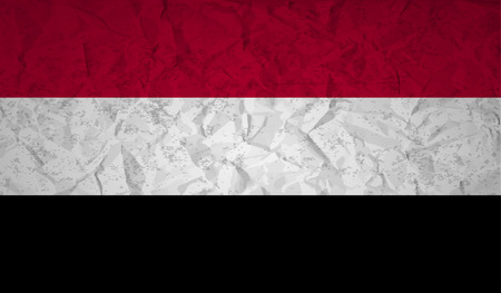 bad condition: Flag  of Yemen with the effect of crumpled paper and grunge