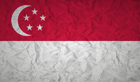 bad condition: Flag  of Singapore with the effect of crumpled paper and grunge