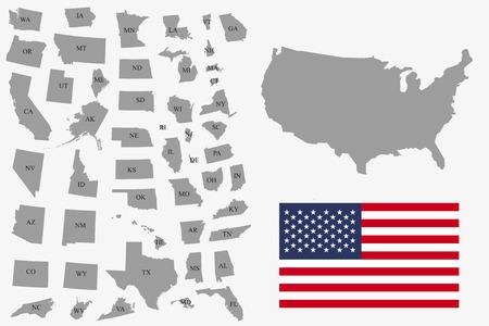 Conjunto de Estados Unidos gris sobre fondo blanco - ilustración vectorial. Mapa plano simple - Estados Unidos. Bandera de EE. UU., Mapa general y todos los estados individualmente.