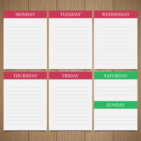 weekly: Weekly  planner in paper notes on a wooden background Illustration