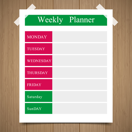 daily planner: weekly  planner, daily planner on a wooden background