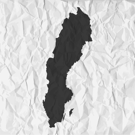 sweden map: Sweden  map in black on a background crumpled paper