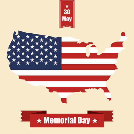 national hero: Memorial  day banner with USA map, flag and ribbons. Vector illustration Illustration