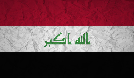 iraq flag: Iraq  flag with the effect of crumpled paper and grunge