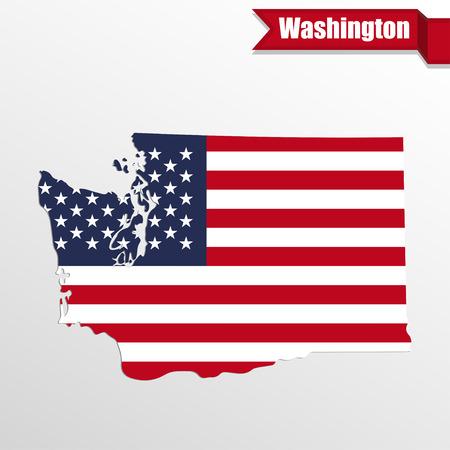 washington state: Washington  State map with US flag inside and ribbon