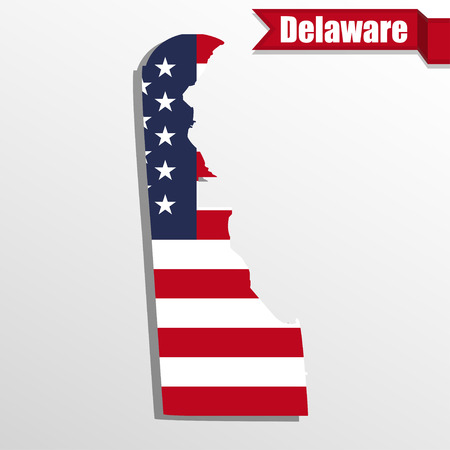delaware: Delaware  State map with US flag inside and ribbon