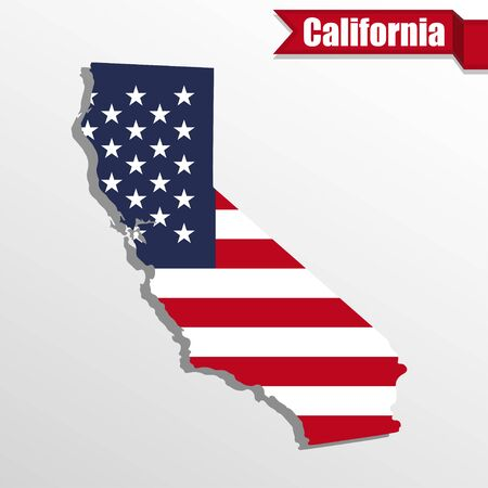 California  State map with US flag inside and ribbon Vectores