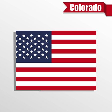 flag of colorado: Colorado  State map with US flag inside and ribbon