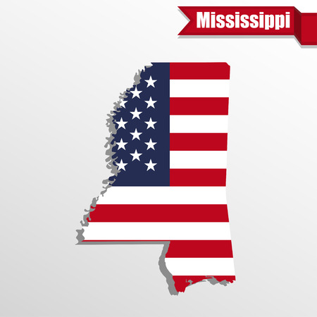 Kaart van de staat van de Mississippi met Amerikaanse vlag binnen en lint