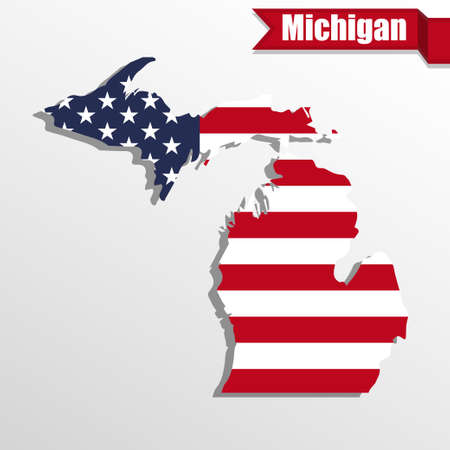 michigan flag: Michigan  State map with US flag inside and ribbon