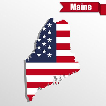 maine: Maine  State map with US flag inside and ribbon