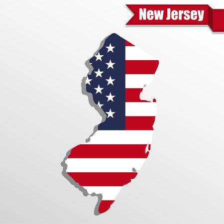 De staatskaart van New Jersey met binnen de vlag van de VS en lint Stock Illustratie