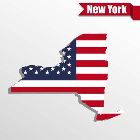 Mapa del Estado de Nueva York con la bandera de Estados Unidos en el interior y la cinta Ilustración de vector