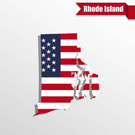 island state: Rhode  Island State map with US flag inside and ribbon Illustration