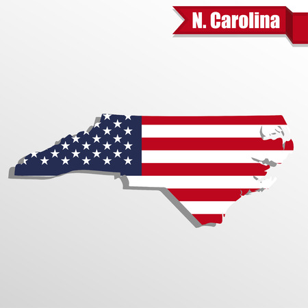 North  Carolina State map with US flag inside and ribbon