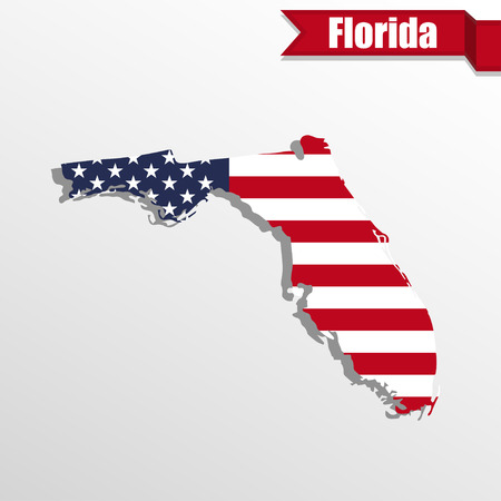 florida state: Florida  State map with US flag inside and ribbon