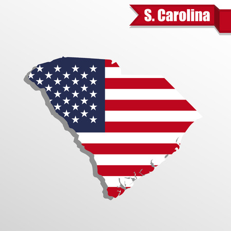 South  Carolina State map with US flag inside and ribbon Vettoriali
