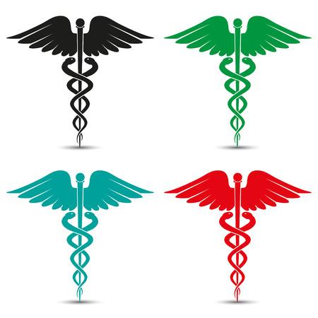 Zestaw medyczny symbol Kaduceusz wielobarwny z cienia