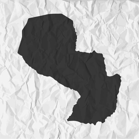 mercator: Paraguay  map in black on a background crumpled paper