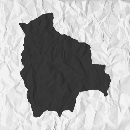 crumpled: Bolivia  map in black on a background crumpled paper