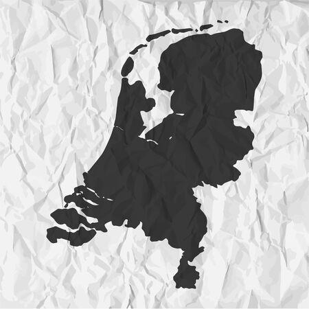 netherlands map: Netherlands  map in black on a background crumpled paper Illustration