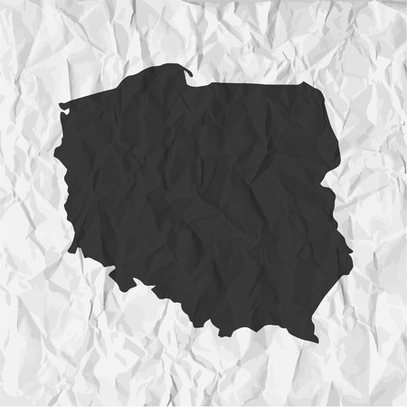 mercator: Poland  map in black on a background crumpled paper Illustration