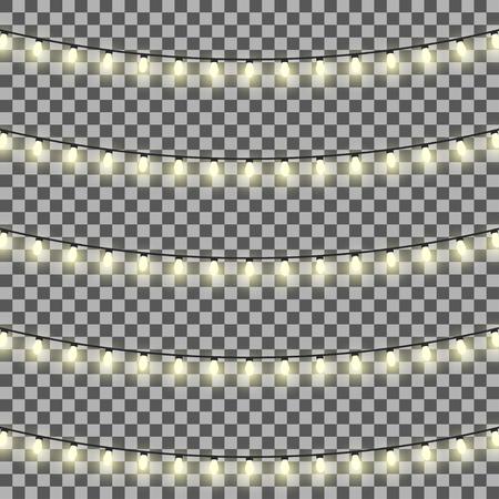 Vector ensemble de guirlandes de lumière sur un fond transparent Banque d'images - 59467393