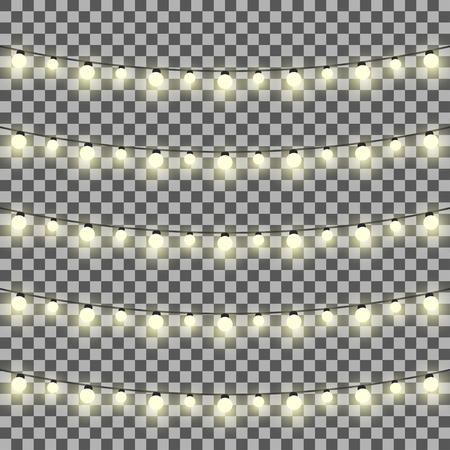Vector set van slingers licht op een transparante achtergrond