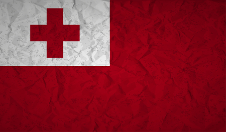 bad condition: Flag  of Tonga with the effect of crumpled paper and grunge Illustration