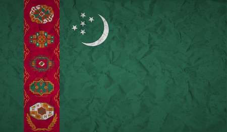 bad condition: Flag  of Turkmenistan with the effect of crumpled paper and grunge Illustration
