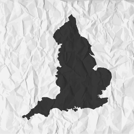 england map: England  map in black on a background crumpled paper Illustration