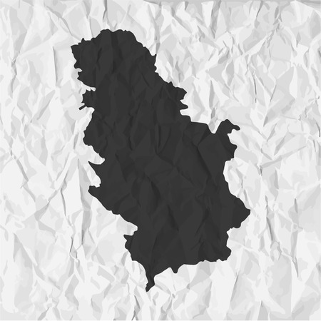 crumpled: Serbia  map in black on a background crumpled paper