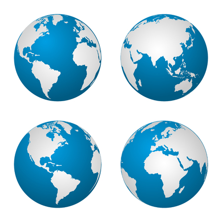 south asia: Earth  globe revolved in four different stages. Vector illustration