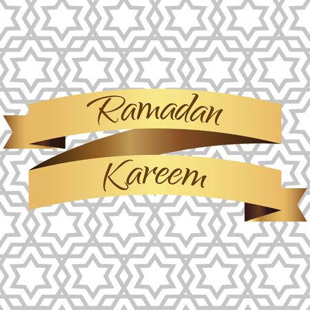 ramzaan: Ramadan  Kareem greeting card. Golden ribbon. Vector illustration